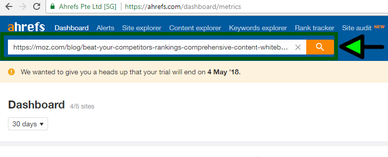 ahrefs tool for backlinks