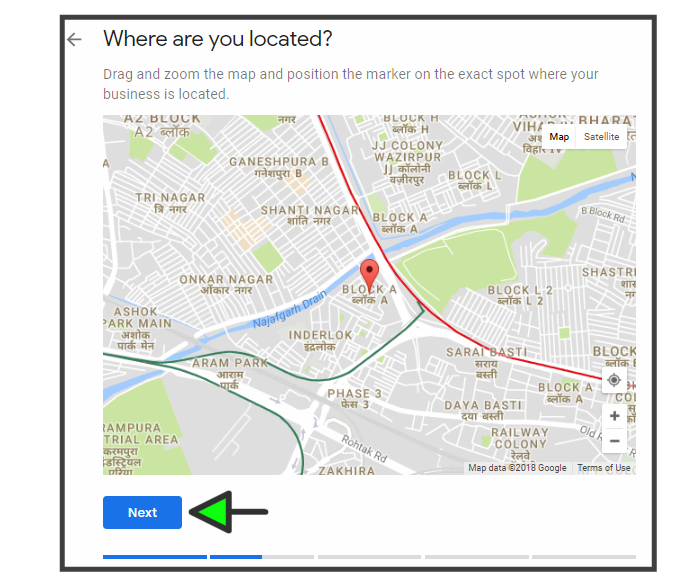 Drag and zoom the map and position the marker on the exact spot where your business is located.