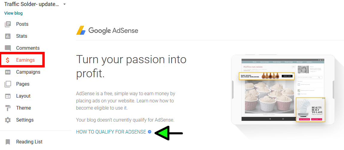 apply for adsense on blogger