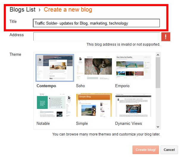 Blogger: create new blog