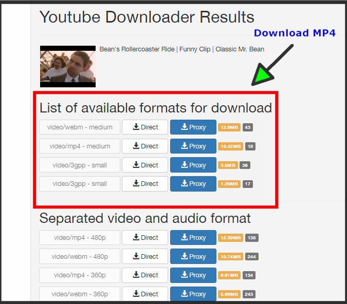 Youtube Downloader Results