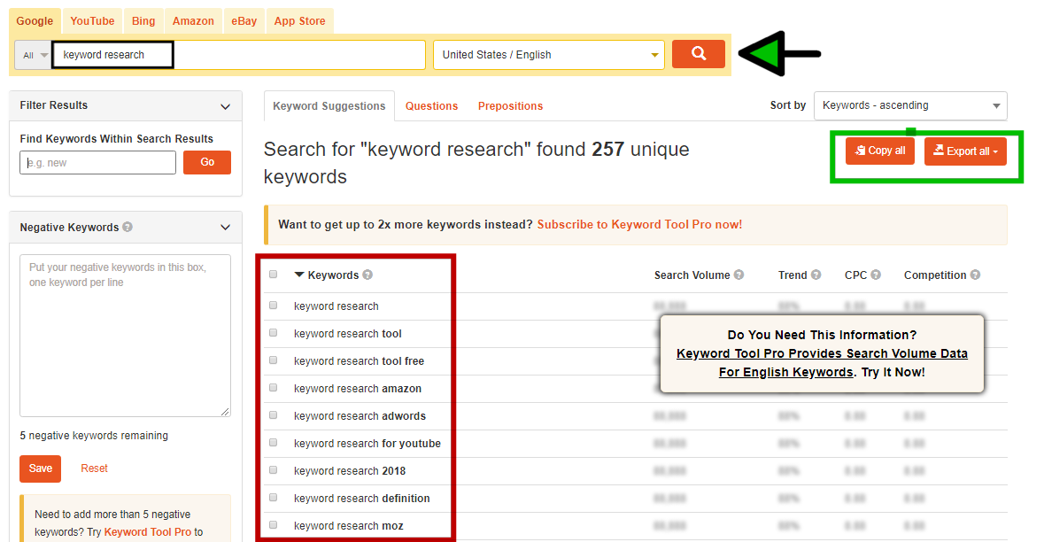 "Search for ""keyword research"""