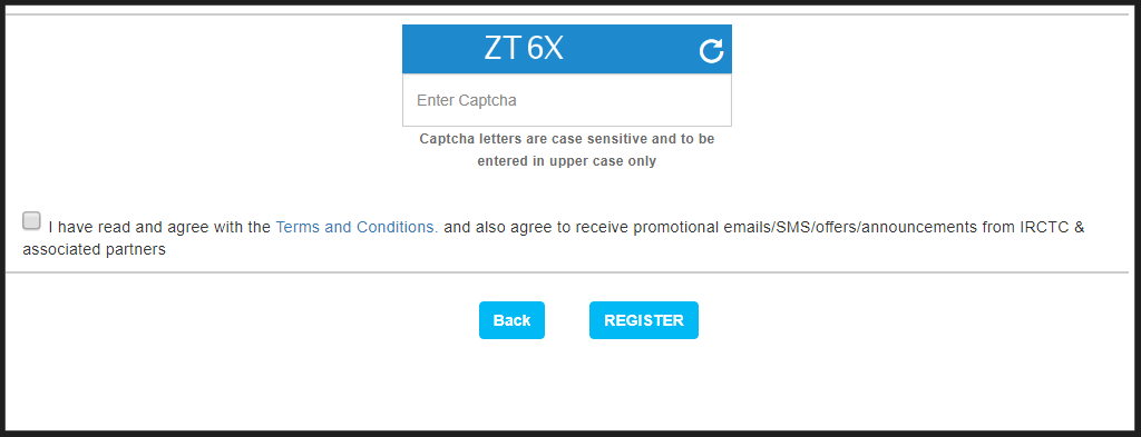 Irctc registration captcha